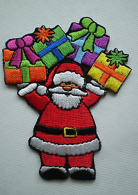 100% EMBROIDERY IRON ON SANTA PRESENT EXQUISITE CHRISTMAS PATCH Buy 10 for BONUS