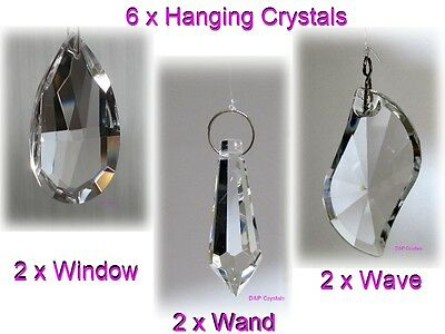 Suncatcher Hanging Crystal Drops Feng Shui Rainbow Prism Sparkling Gifts x6