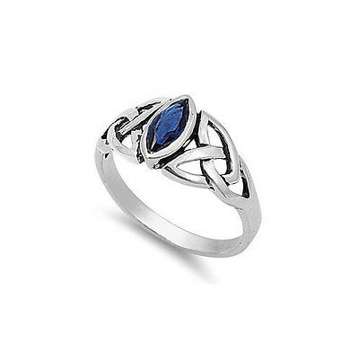 Celtic Ring Sterling Silver Blue Sapphire CZ Marquis .925 Irish Knot September