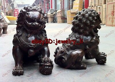 Folk Collection Door fengshui Bronze Guardion Lion Foo Fu Dogs Old Statues 16cm