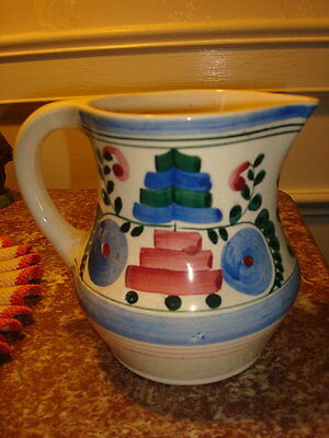 VTG PERSIAN WARE POTTERY GERMANY PITCHER BLUE FLORAL