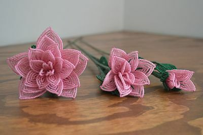3 handmade French beaded Flowers pink roses Large medium small rose glass beads