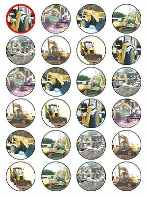 X24 Digger Jcb Building Birthday Cup Cake Toppers Edible Rice Paper Decoration