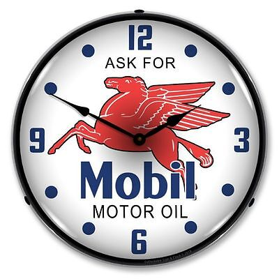New Mobil Oil  Retro  Advertising  Backlit Lighted Clock - Free Shipping*
