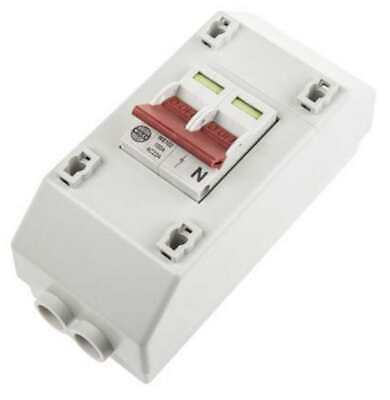 Wylex 100A DP Mains Switch & Enclosure Supply Isolator - REC2S