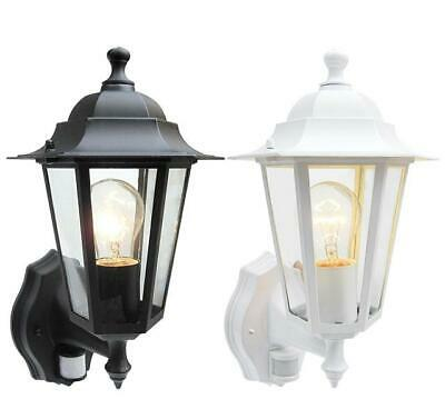 Outdoor 6 Sided Wall Lantern Black Or White With PIR Motion Sensor Detector