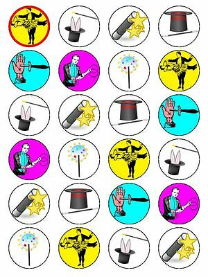 X24 Magic / Magician Birthday Cup Cake Toppers Decorations On Edible Rice Paper