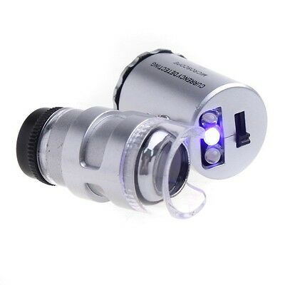 Mini 60X Jeweler Loupe Magnifier Microscope UV currency Detector with LED Light