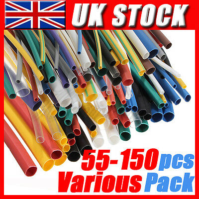 55 - 150 Pcs Heat Shrink Tube Sleeving Wrap Wire Auto Car Cable Various Pack Set