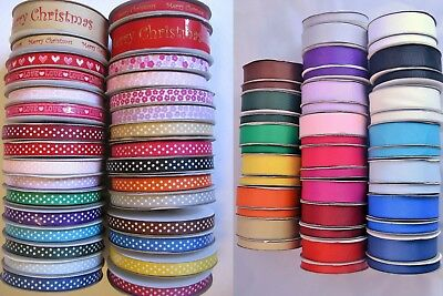Grosgrain ribbon full 25m rolls 10mm 25mm lots of colours wedding crafts sewing