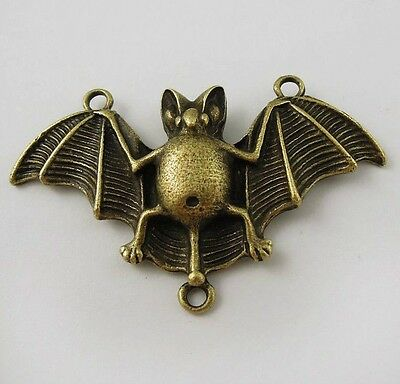 15X Vintage Style Bronze Tone Bat Pendant Charms Findings 47*25*5mm