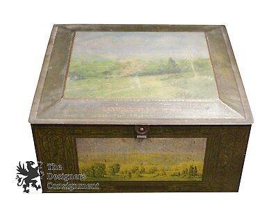 1 Large Antique Rare Beech Nut Advertising Hinged Tin Box Lithograph Scenes
