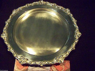 ROCOCO STYLED ENGLISH SHEFFIELD SILVER DEEP CENTER GALLERY TRAY FineThings4sale