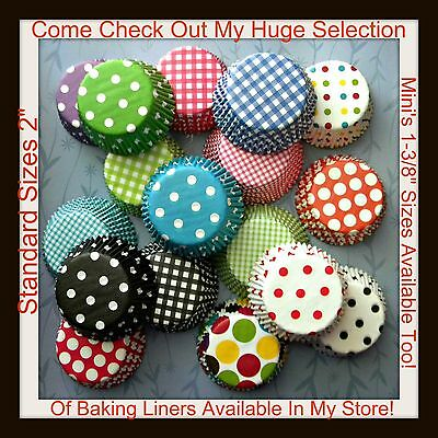 New Gingham Or Polka Dot You Choose Your Own Stacks Cupcake Baking Liners!
