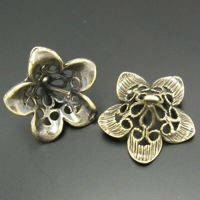 15X Vintage Style Bronze Tone Flower Pendant Charms Findings 15*8mm
