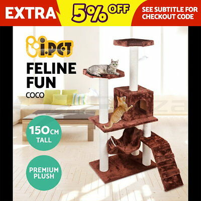 Cat Scratching Post Tree Gym House Scratcher Pole Furniture Bed Toy Medium 150cm