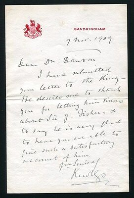 Fine Original Letter Signed By Knollys Dr Dawson Buckingham Palace 1909