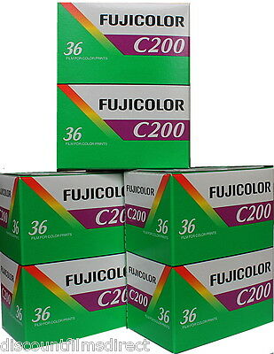 6 x FUJI COLOR C200iso 35mm 36exp COLOUR  PRINT CAMERA FILM by 1ST CLASS POST