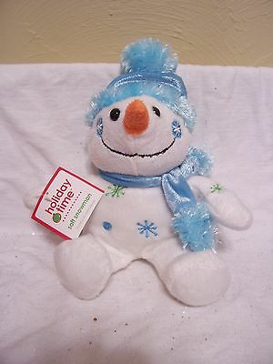 PLUSH  SNOWMAN AQUA HAT & SCARF CHRISTMAS HOLIDAY DECORATION CHILDS TOY GIFT