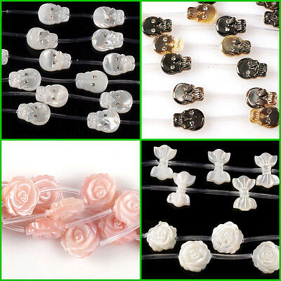 Mother of pearl MOP shell skull bow flower shaped small loose beads 15pcs