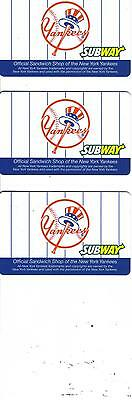 SUBWAY - New York Yankees Gift Card - 3 of them, No $$$ Value Subway Series MINT