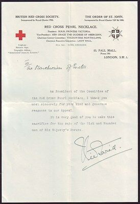British Red Cross Letter Signed By Princess Victoria Daughter King George V