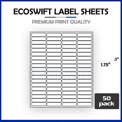 (4000) 1.75 x 0.5 Laser Address Shipping Mailing Labels 80 per sheet 1 3/4 x 1/2