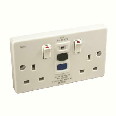 Double White 2 Gang Rcd Switched Safety Socket 13Amp