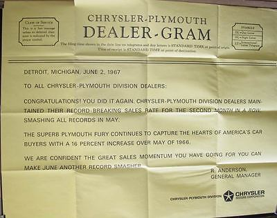 1967 Plymouth Dealer Congratulation Factory Showroom Poster wt2787
