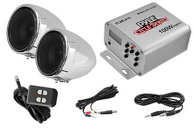 PLMCA10 Motorcycle ATV Snowmobile Mount MP3 Radio Amp 2 Weatherproof Speakers