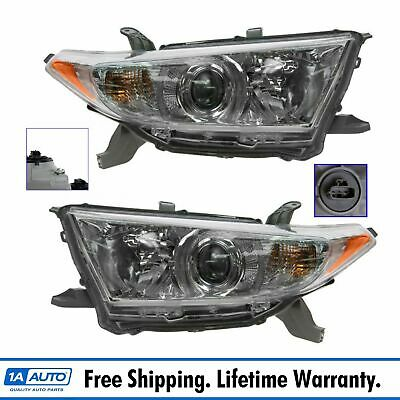 Headlight Headlamp Light Lamp Pair Set of 2 Kit for Toyota Highlander US Built