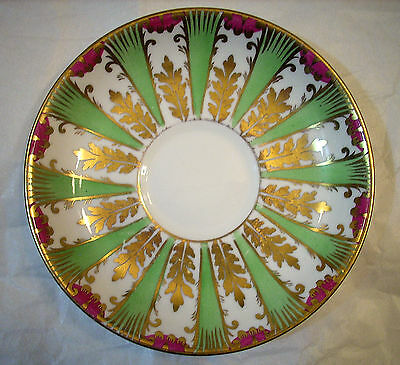 Royal Chelsea England Green And Gold Saucer