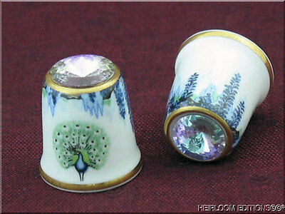 PEACOCK & WISTERIA THIMBLE by SUTHERLAND