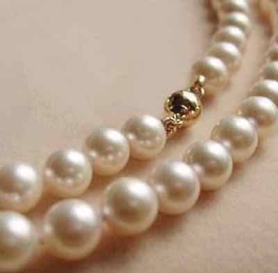 """14K Solid Gold CL 8MM White Akoya Pearl Necklace 18"""""""
