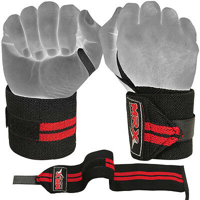 Weight Lifting Wraps Fitness Gym Workout Training MRX Wrist Support Black / Red