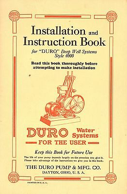 1924 Duro Deep Well Systems Installation & Instruction Book Duro Pump & Mfg Co.
