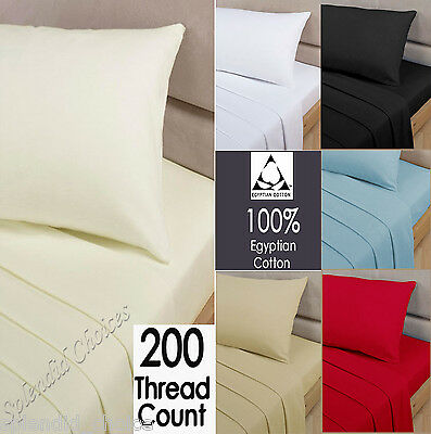 Luxury 100% Egyptian Cotton Flat Sheets 200 Thread Count Single Double King