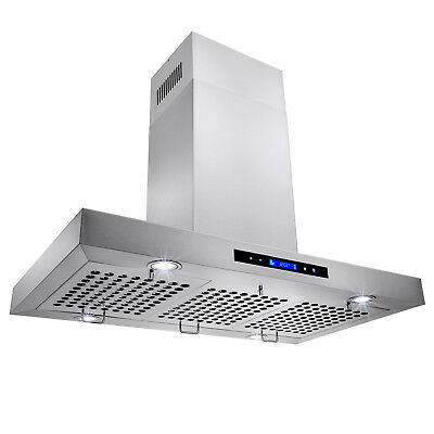 "AKDY AIR10136 36"" Island Range Hood Vent 3 Baffle Filters Stainless Steel Design"