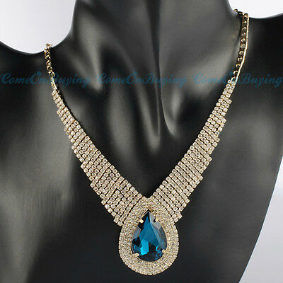 Fashion Glod Chain White Crystal Blue Glass Drop Statement Pendant Bib Necklace