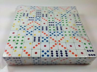 200 16mm White Dice w/ Colored Pips (Style #2)  Wholesale Lot Bulk
