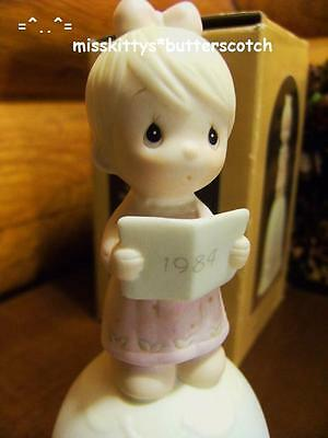 Precious Moments~BELL~Dated 1984~Wishing You A Merry Christmas~E5393~Girl w Book
