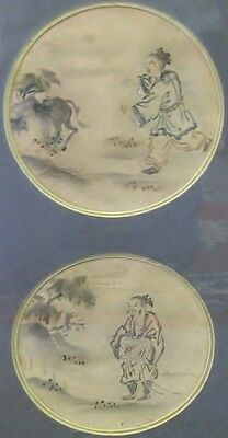 Antique Chinese Watercolor painting 18th or 19th century framed Man and Horse