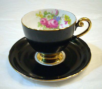 SHELLEY FINE BONE CHINA ENGLAND GOLD GILDED BLACK ROSE FOOTED TEA CUP & SAUCER