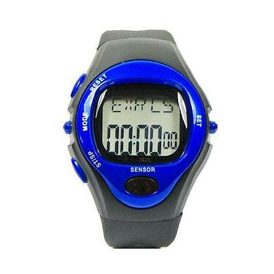 New Pulse Heart Rate Monitor Calorie Counter Sport Wrist Watch Stop Watch Blue