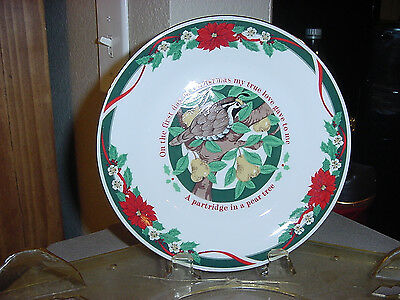 TIENSHAN  DECK THE HALL 12 DAY CHRISTMAS SALAD PLATE A PARTRIDGE IN A PEAR TREE