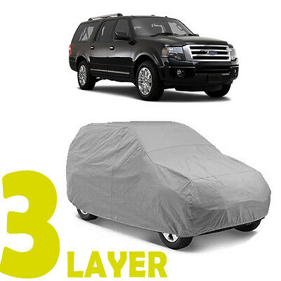 TRUE 3 LAYERS GRAY FITTED SUV COVER OUTDOOR WATER RESISTANT for FORD EXPEDITION