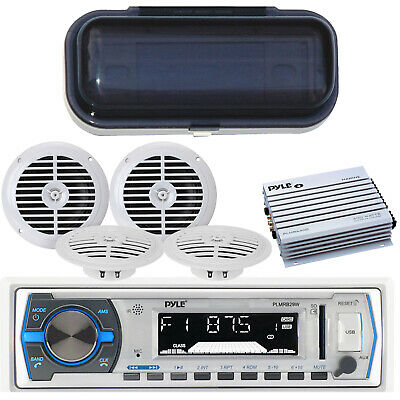 Best New In Dash Radio & MP3 Player For your Boat + 4 Speakers 400W Amp + Cover