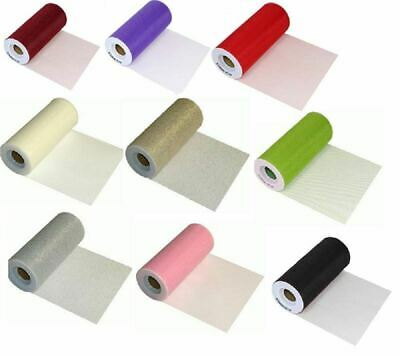 TULLE FINESSE FABRIC RIBBON ROLL FOR WEDDINGS & CRAFTS 6inch x 25yards