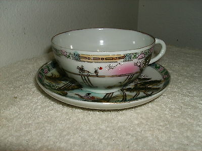 Vintage / Antique Fine Porcelain Hand Painted& Crafted Japanese Cup& Saucer
