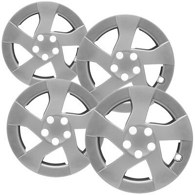 """4 PC Hubcaps Fits Toyota Prius 15"""" Silver Snap on Replacment Wheel Rim Skin"""